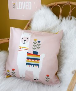 Kussen Lama roze voorkant