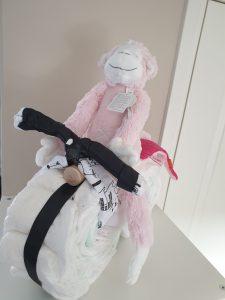 luiertaart motor met happyhorse aap roze
