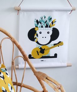 textiel poster aap indiaan oker