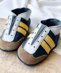 leren jogger babyslofjes van Baby dutch geel blauw