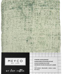 Meyco Fine lines hydrofiele aankleedkussenhoes forest green