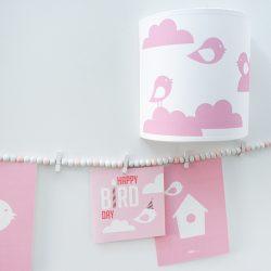 Wandlamp Vogel en Wolken_roze_