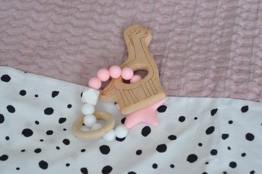 Houten bijtring met giraf roze / wit
