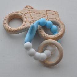 Houten bijtring met motor blauw / wit
