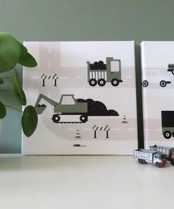 canvas voertuigen graafmachine olijfgroen