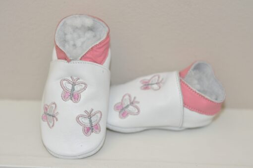 baby dutch slofjes vlinder wit / lichtroze