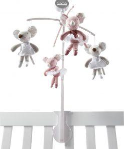 Tiamo muziekmobiel balletmuis 37 cm roze/grijs