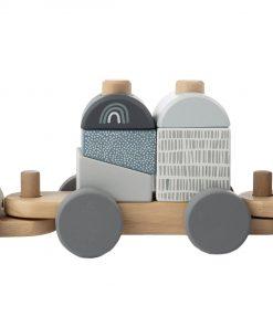 Label label blokkentrein blauw