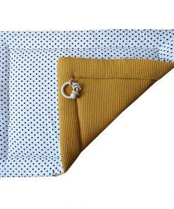 Boxkleed-Stip-op-wit-Wafelstof-oker-geel-ANNIdesign